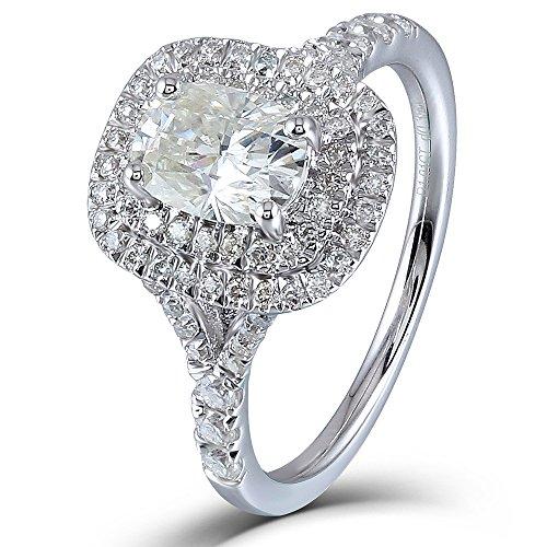 DOVEGGS 1.39CTW Center 5X7mm Cushion Cut H-I Color Moissanite Halo Engagement Ring Platinum Plated Silver (Platinum Engagement)