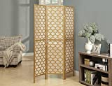 Monarch Specialties I 4638, Panel Room Divider, Solid Wood, Lantern Design, Gold,70''H
