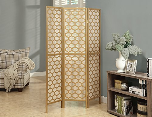 Monarch Specialties I 4638, Panel Room Divider, Solid Wood, Lantern Design, Gold,70''H by Monarch Specialties
