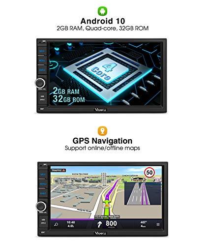 Vanku Android 10 Autoradio 2 Din Gps 2gb32gb Radio De Coche Soporte Bluetooth Control Volante Wifi Usb Sd Mirror Link 4g Con 7 Pantalla Tactil