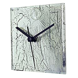 River City Clocks Square White Glass Wall Clock with Cracked Glass Design