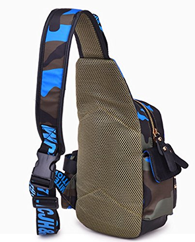 Panegy Fashion Sports Unisex Brusttasche Sporttasche Schultertasche Umhängetasche Einzel-Schulter Crossbody Tasche Schultasche - Blau Camouflage