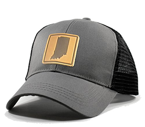 Homeland Tees Men's Indiana Leather Patch Trucker Hat - - Pacers Leather Embroidered Indiana