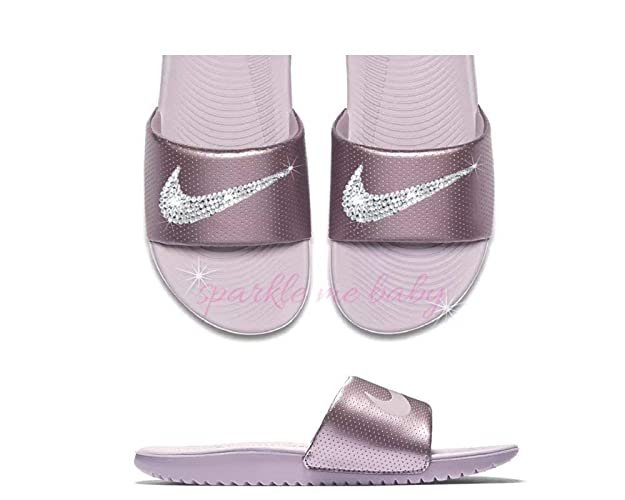 the best attitude b72c8 3504d Nike Slide Women's Rose Pink ~NEW~ Blinged ~ Swarovski Bedazzled Nike  Slides Customized for you by Sparkle Me Baby 2U