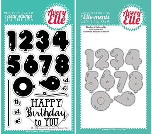 Avery Elle Numbered Balloons Stamps and Elle-ments Dies Bundle AE1512 D1512