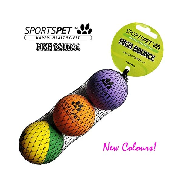 SPORTSPET High Bounce Rubber Dog Balls 3 pack 3