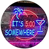 AdvpPro 2C It's 5 pm Somewhere Bar Beer Cocktails Dual Color LED Neon Sign Blue & Red 12'' x 8.5'' st6s32-i2090-br
