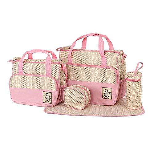 Bolsa de Pañales de 5piezas para madres,–Bolsa de Pañales Bebé almohadilla de repuesto–Large Tote–Medium Tote–Bolsa de Botella caqui rosa