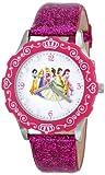 Disney Kids' W000405 Tween Princess Glitz Stainless Steel Watch with Glitter Pink Leather Band