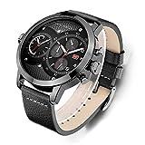 Men's Quartz Watches Waterproof Business Wristwatch, Leather Straps, Dual Core Dual Time Zone, Big Dial