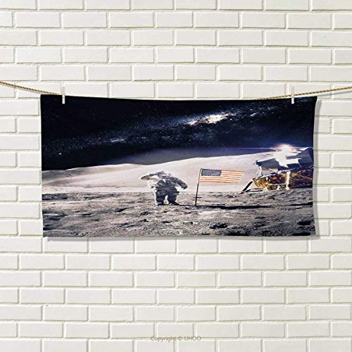 Chaneyhouse Space,Hair Towel,Astronaut on Moon with American