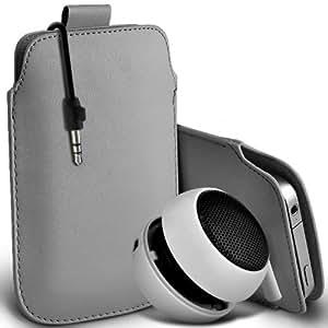 Motorola Moto T Protección Premium de PU tirón del cuero Tab Slip Cord En caso de la cubierta Pouch Pocket Skin & Mini recargable portátil de 3,5 mm Cápsula Viajes Bass Speaker Jack Grey por Spyrox