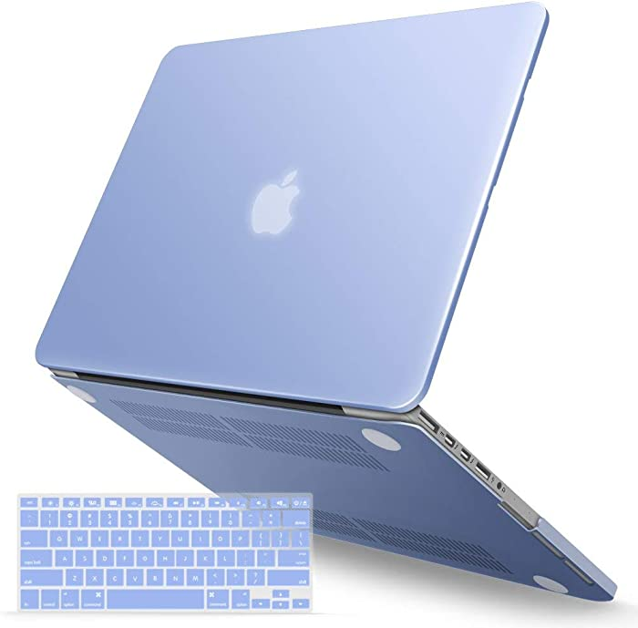IBENZER MacBook Pro 13 Inch Case 2015 2014 2013 end 2012 A1502 A1425, Hard Shell Case with Keyboard Cover for Old Version Apple Mac Pro Retina 13, Serenity Blue, R1301SRL+1