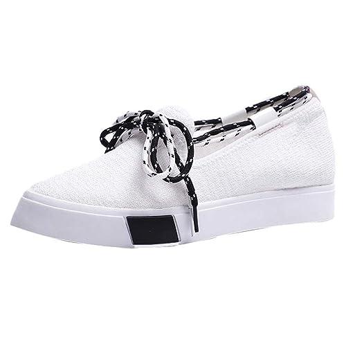 Zapatillas de Lona Plano para Mujer Otoño Invierno 2018 Moda PAOLIAN Calzado de Dama Blancas Casual