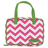 Pink and Green Chevron 8 x 10.8 Leather Like Vinyl Bible Cover Case with Handle Large