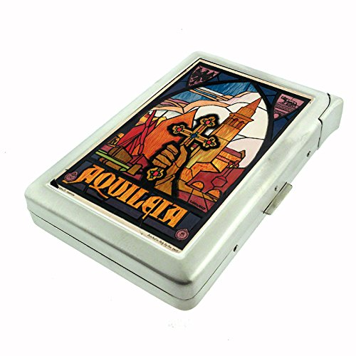 Perfection In Style Metal Cigarette Case with Built In Lighter Vintage Travel Posters Design 008