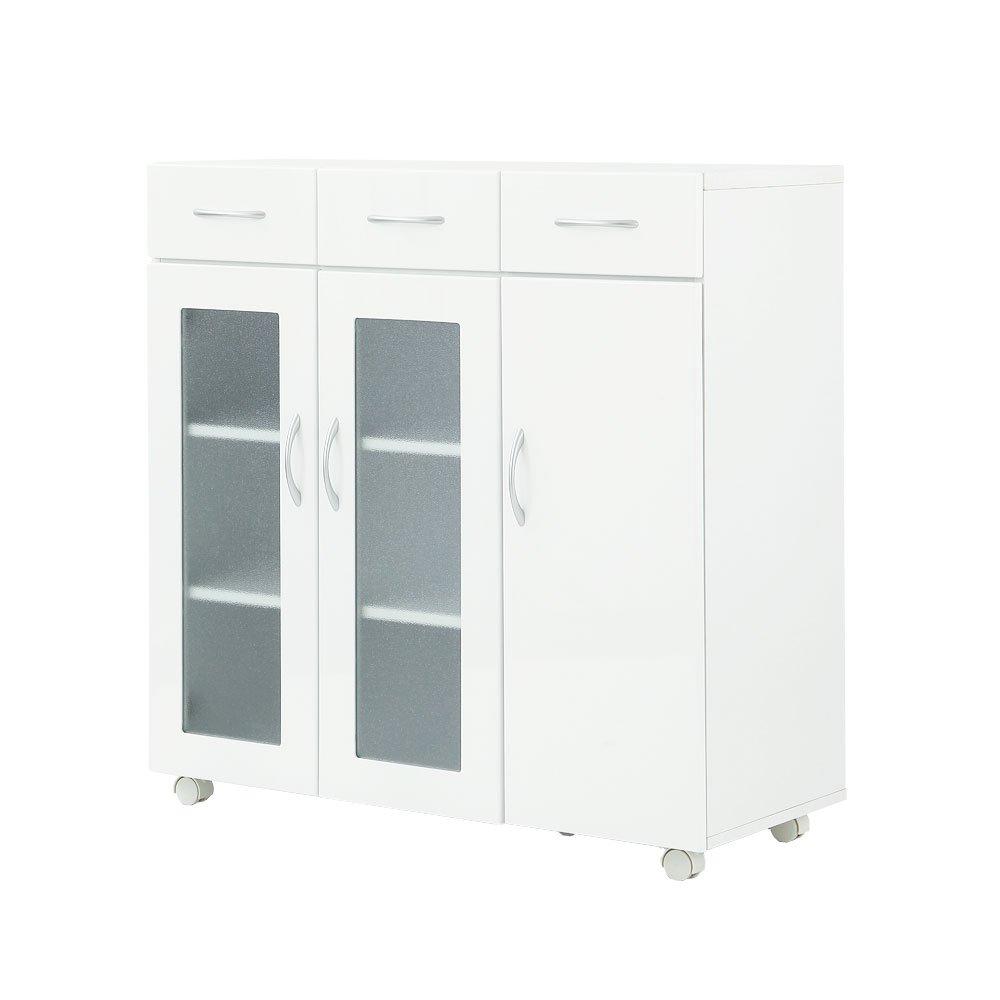 【完成品】 食器棚 ワゴンタイプ 幅90cm 白 キャスター付き キッチン収納 キッチンカウンター キッチンラック B016ZNPFHI   完成品