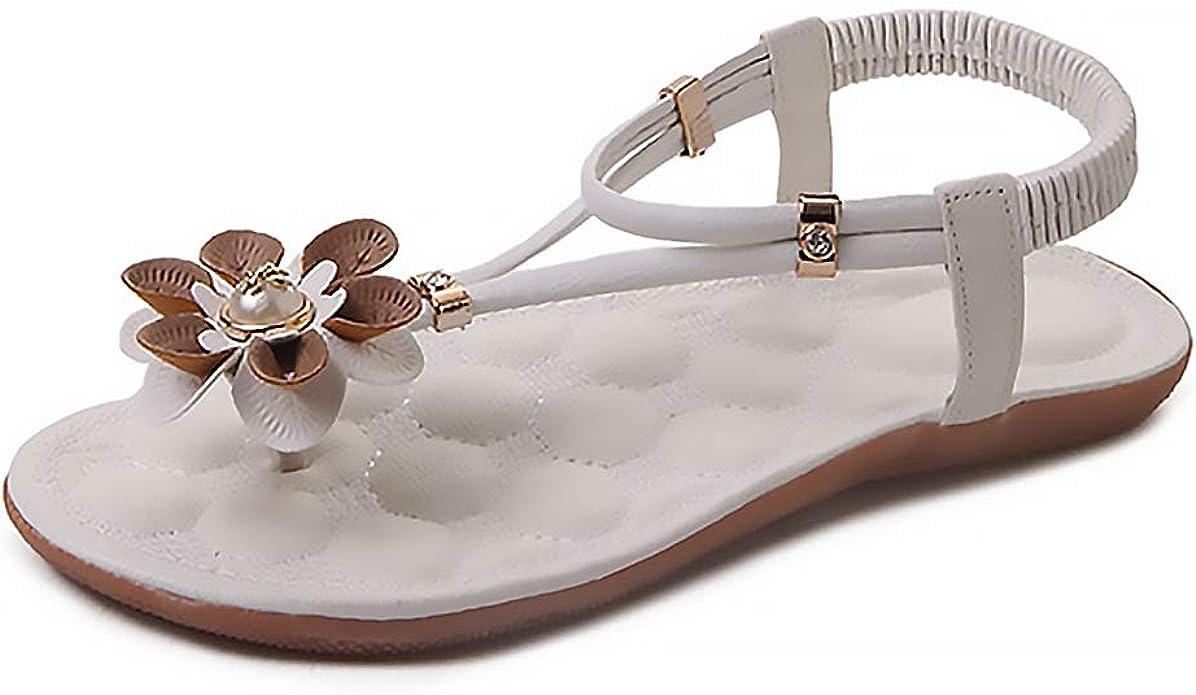 Rebecca Womens Summer Elastic Band T-Strap Sandals Rhinestone Flip Flops Beach Flat Wedge Sling Back Thong Bohemian Sandals