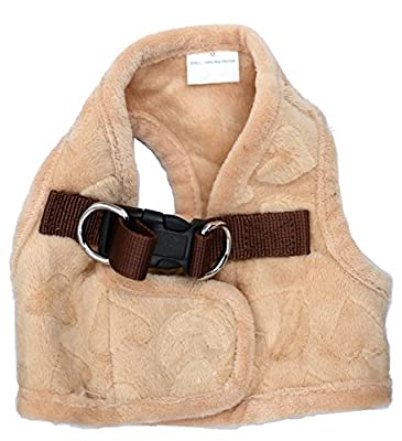 Lovely Heart Print Warm Pet Harness Vest Beige
