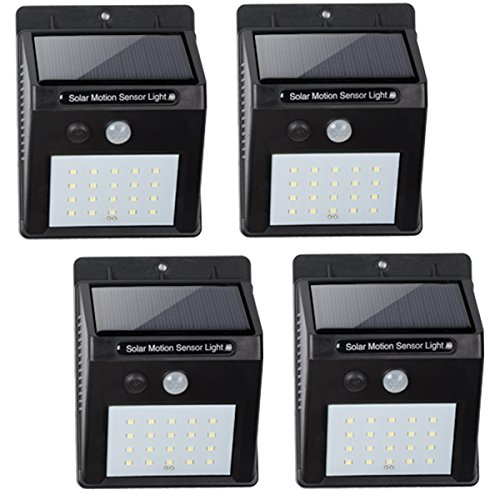 all Solar Powered Light, Motion Sensor Infrared, 20 LED (450 Lumen), Wireless Waterproof Heatproof Security Wall Light, Auto On/Off (4 Pack) Value Pack ()