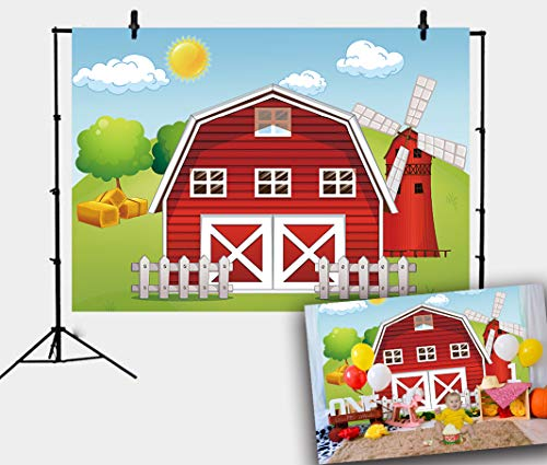 RUINI Cartoon Farm Theme Backdrop Red Farm Windmill House Children Birthday Party Decoration Banner 5x3FT