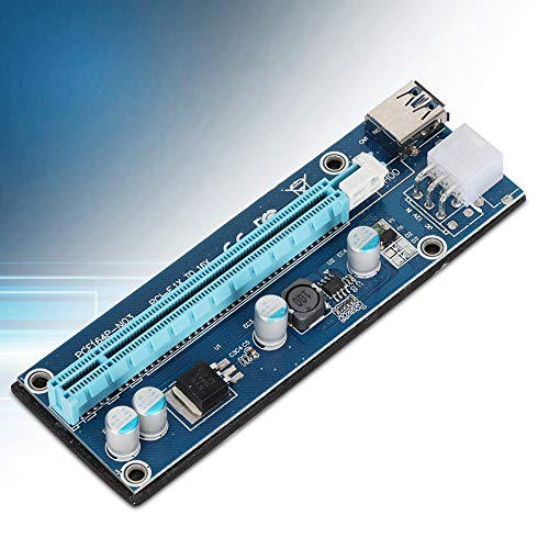 Bewinner Riser Card, USB3.0 PCI-E 1x to 16x Riser Adapter Card with IDE 4Pin to 6pin Power Cable, PCI-E Graphics Card Riser Extender Card for Miner Machine
