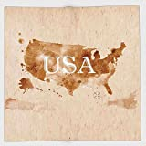 Cotton Microfiber Hand Towel,Americana,Early American Retro Map Of The Country Southwest And Alaska Image Print,Peru Brown White,for Kids, Teens, and Adults,One Side Printing