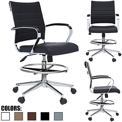 2xhome – Modern Adjustable Designer Ergonomic Office Drafting Chair Office with Arms Ribbed Computer Black