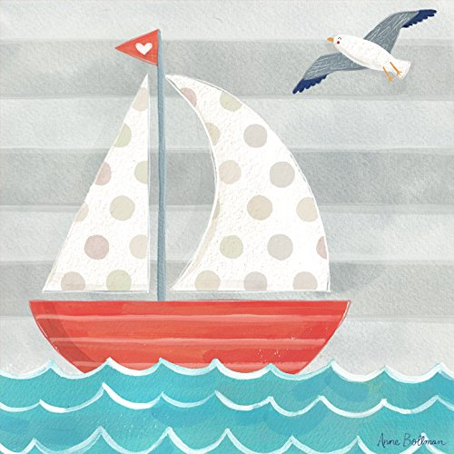 Child Wall Art Sailboat (Oopsy Daisy Fine Art for Kids Let's Set Sail Boat Canvas Wall Art by Anne Bollman, 21 x 21