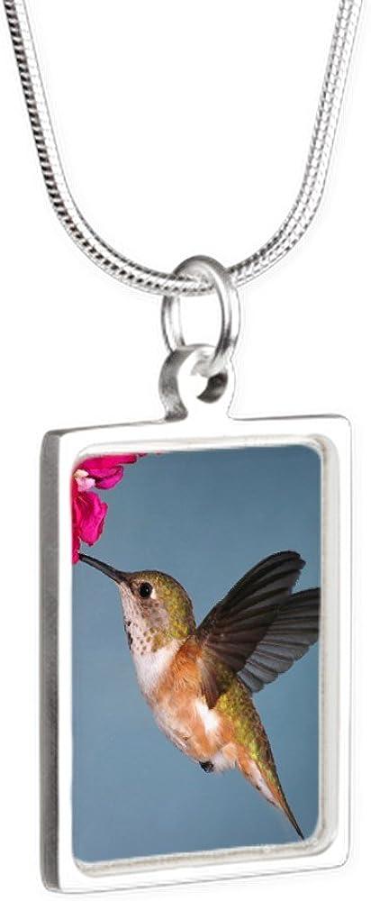 Royal Lion Silver Portrait Necklace Female Rufous Hummingbird