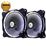 Asiahorse PWM Solar Eclipse-Ultra Quiet Bearing 120mm DC Led Fan for Computer Cases, Long Life CPU Coolers 2pack(white)