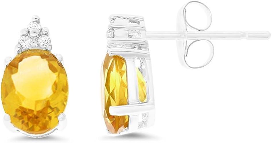 Solid Sterling Silver 2 TCW Genuine Citrine Stud Earrings ~ November Birthstone