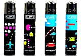 Four Clipper Refillable Butane Lighters, Classic Video Game Design (4)