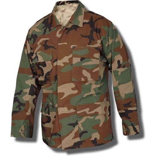- USA Army Surplus BDU Coat - Shirt; Woodland Camouflage Size Medium Long
