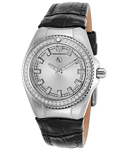Technomarine Tm-416036 Women's Diamond Eva Longoria Black Genuine Leather Silver-Tone Dial Watch