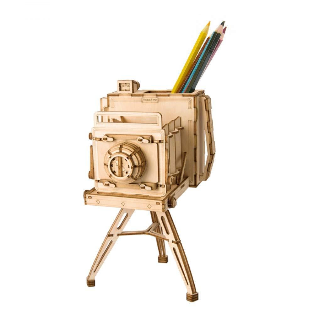 Vintage Camera GSYDPT Robotime Diy 3D Vintage Camera Wooden Puzzle Game Pen Holder & Model Building Gift Kits For Kids Kid'S Friend Toy Popular