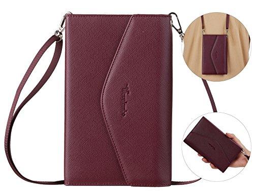 Travelambo Rfid Blocking Passport Holder Wallet & Travel Wallet Envelope 7 Colors (wine red with neck/wrist strap)