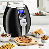 SUPER DEAL Pro 3.7Quart Electric Air Fryer w/ 8 Cooking Presets, Temperature Control, Auto Shut off & Timer, LCD Digital Display Screen (Black) (Black)