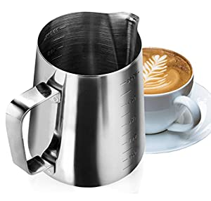 My Pitcher Measuring | Professional 18/8 Stainless Steel 12, 20 Oz Measuring Cup Milk Frothing Pitcher with Measurement Marks | Superb for Precision Pouring and Espresso Coffee Machine from My Pitcher Measuring