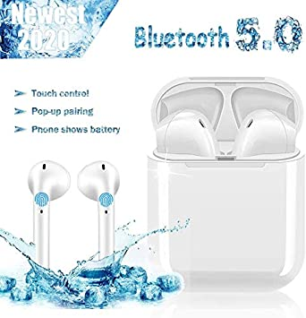 Auriculares Bluetooth5.0, Toque Inteligente Auriculares inalámbricos, Emparejamiento emergente automático, Auriculares con cancelación de Ruido estéreo 3D, Auriculares internos de Llamada HD - Blanco