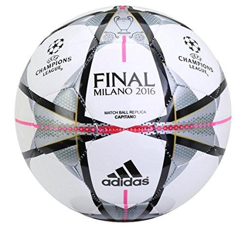 Adidas Performance Finale Milano Capitano Soccer Ball, White/Black/Silver Metallic, 5