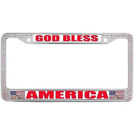 License Plate Chrome Frame God Bless America Glitter Rhinestones License Plate Frame Tag Steel Metal Automotive License Plate Frame Fits Standard US License Plate Covers & Frames