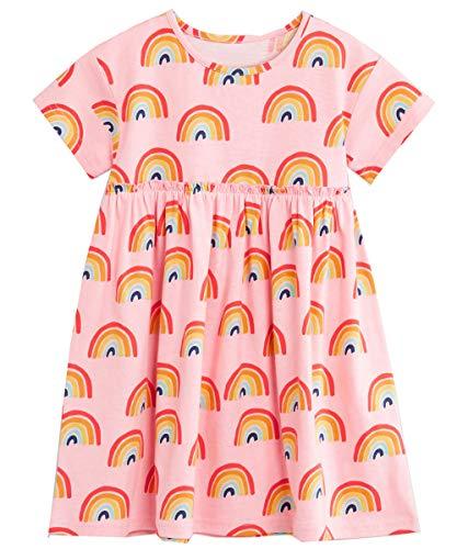 Bumeex Little Girls Cotton Casual Cartoon Print Short Sleeve Skirt Dresses (Pink 2, 4T(3-4years)) -