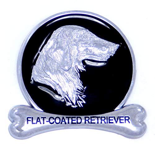 (Flat-Coated Retriever Breed Chrome Dog Medallion Car Truck SUV Emblem Logo Badge Decal Ornament Gift)