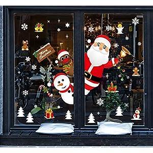 Tuopuda Natale Vetrofanie Adesivi Murali Rimovibile Fai da Te Finestra Decorazione Vetrina Wallpaper di Neve Christmas Decor Babbo Pupazzo di Neve (colorato) 12 spesavip