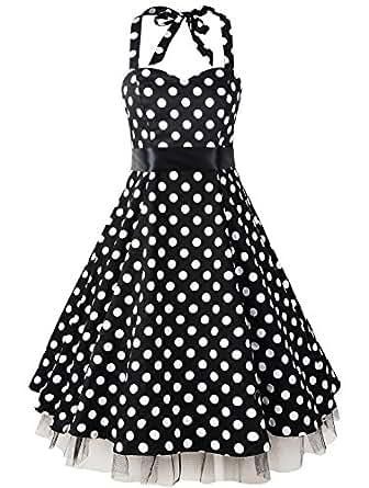 VOGMATE Women's 1950s Polka Dot Dress Vintage Halter Swing Dress at