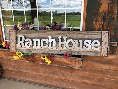 RANCH HOUSE Reclaimed Wall Pallet Shutter Sign GREEN BLUE *Industrial Rustic Metal Lettering *Handcrafted Distressed LARGE Wood Sign *Hang INDOOR or OUTDOOR 60'' x 14'' by Wooden Hearts