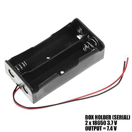 Ociodual Caja Doble Baterías de Litio 18650 en Serie 7.4V Porta Pilas Cables sin Conector