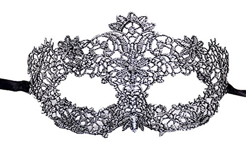 Coolwife Women's Venetian Crochet Ball Lace Masquerade Mask Halloween Fashion (Mardi Gras Silver Black)]()