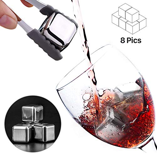 Whiskey Stones Set of 8,Premium Stainless Steel Reusable Ice Cubes Chilling Whisky Rocks Drinking Stone for Wine,vodka, liqueurs,Beverages,Juice and more-【Gifts for Men】-with Ice Tongs